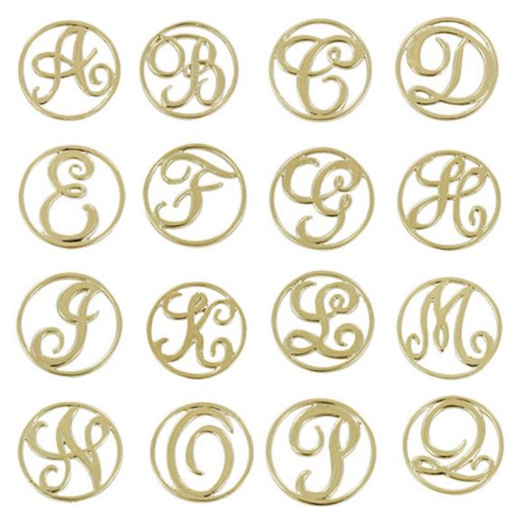 Monogram Letter Floating Locket Back Plate