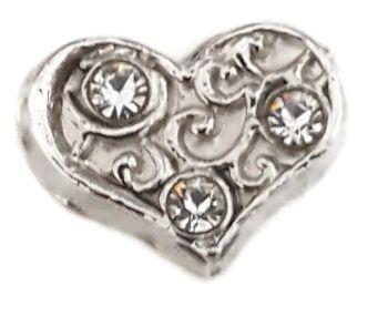 Silver Filigree Heart Floating Locket Charm