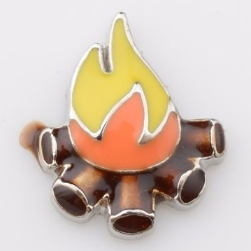 Camp Fire Floating Locket Charm