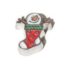 Snowman In Stocking Floating Locket Charm
