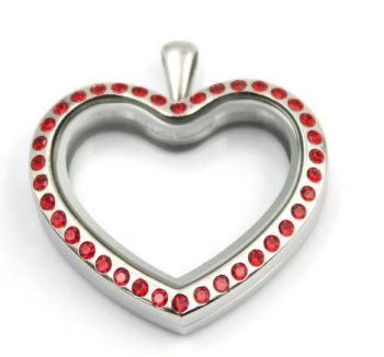 Heart Floating Locket With Red Crystals