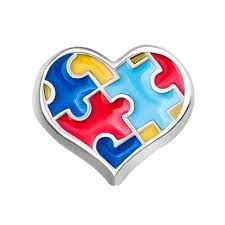 Autisum Jigsaw Heart Floating Locket Charm