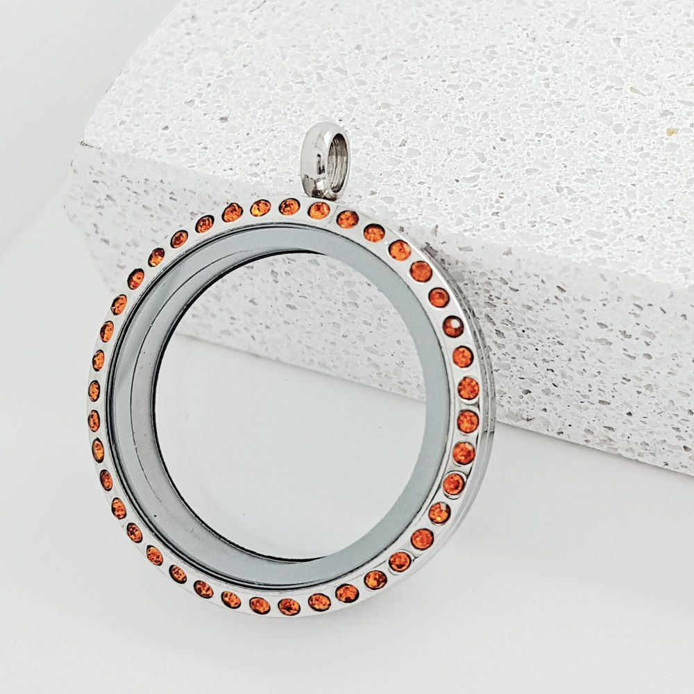 30mm Stainless Steel Floating Locket With Burnt Orange Crystals