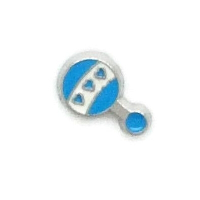 Blue Baby Rattle Floating Locket Charm