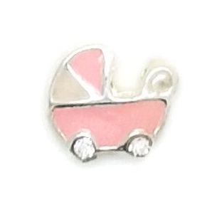 Pram - Pink Floating Locket Charm