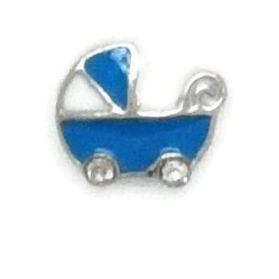 Pram - Blue Floating Locket Charm