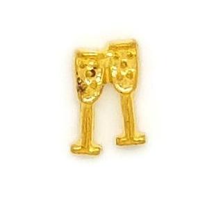 Champagne Glasses Floating Locket Charm