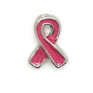 Pink Ribbon Floating Locket Charm