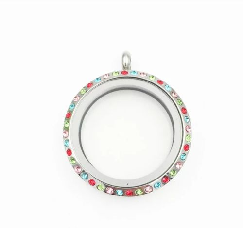 30mm Stainless Steel Floating Locket With Rainbow Crystals