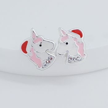 Sterling Silver Christmas Unicorn Earrings