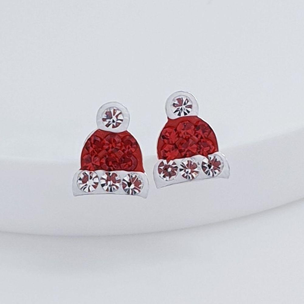 Sterling Silver Crystal Santa Hat Earrings