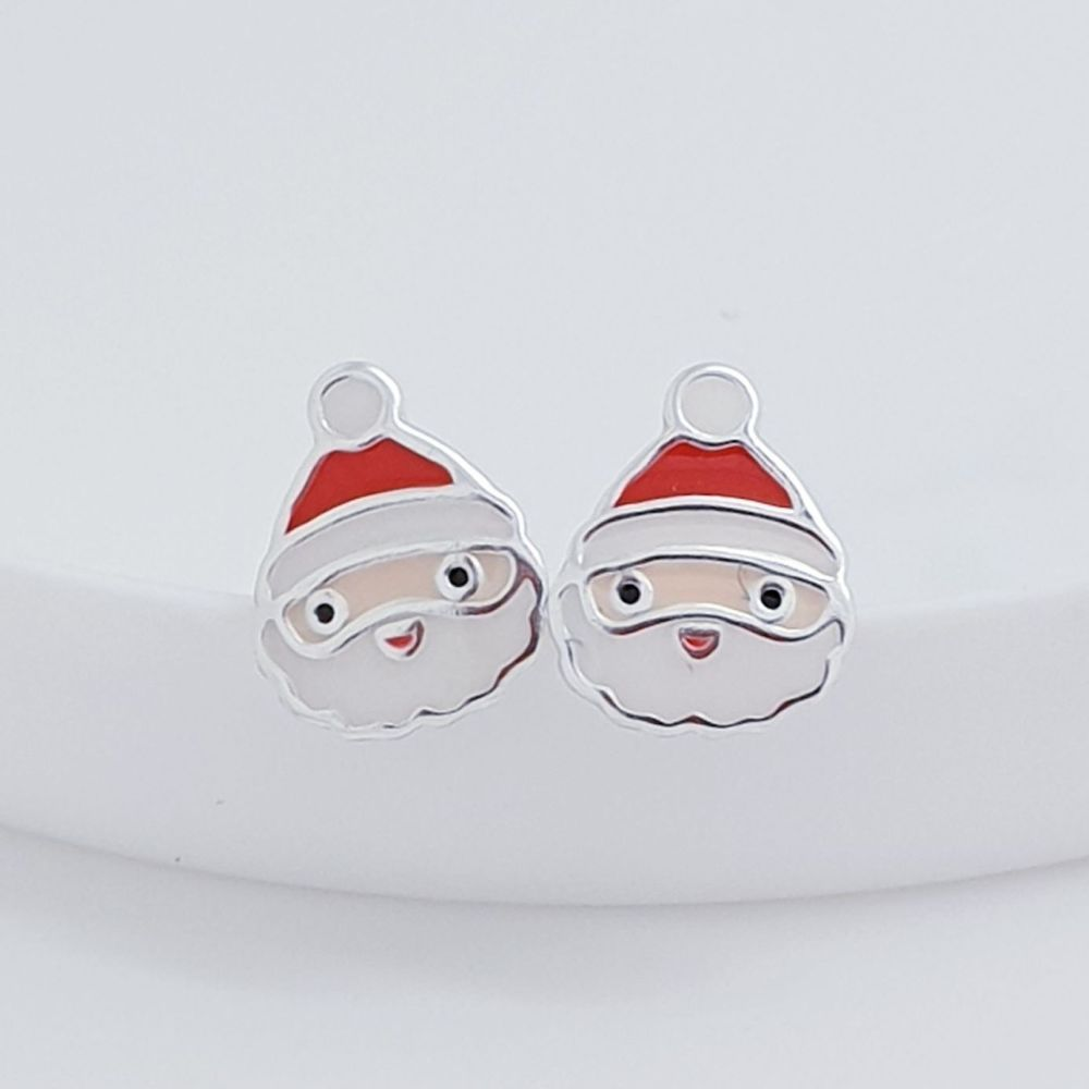 Sterling Silver Santa Earrings
