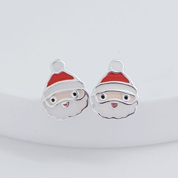 Sterling Silver Santa Earrings