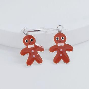 Sterling Silver Gingerbread Man Dangle Earrings