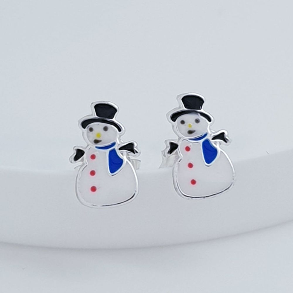 Sterling Silver Snowman Earrings