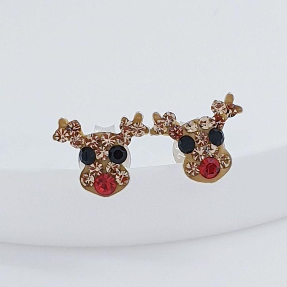 Sterling Silver Crystal Reindeer Earrings