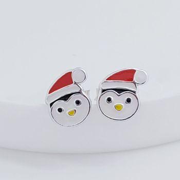 Sterling Silver Christmas Penguin Earrings
