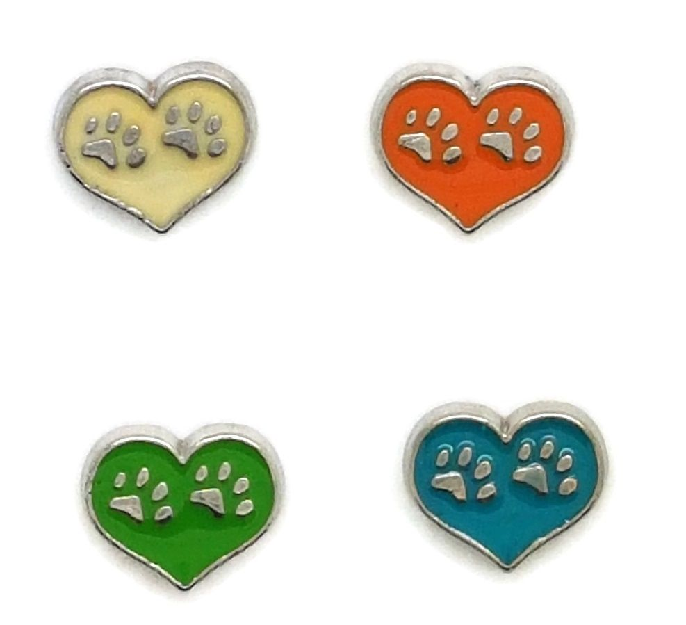 Double Paw Prints Floating Locket Charms