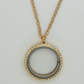 30mm Gold Tone Stainless Steel Floating Locket With Crystals