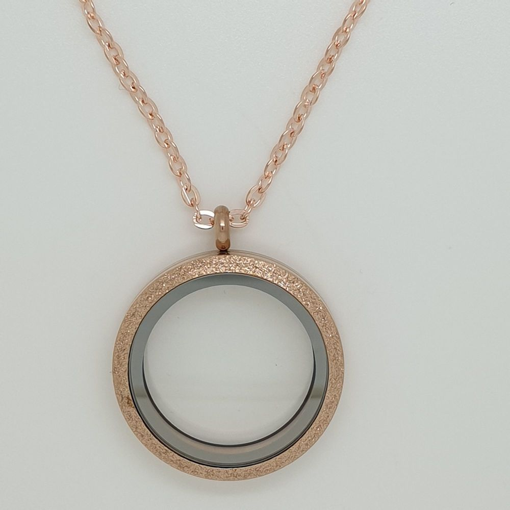 30mm Rose Gold Shimmer Effect Floating Memory Locket