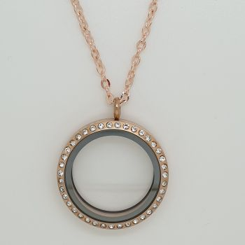 30mm Rose Gold Stainless Steel Floating Locket With Crystals