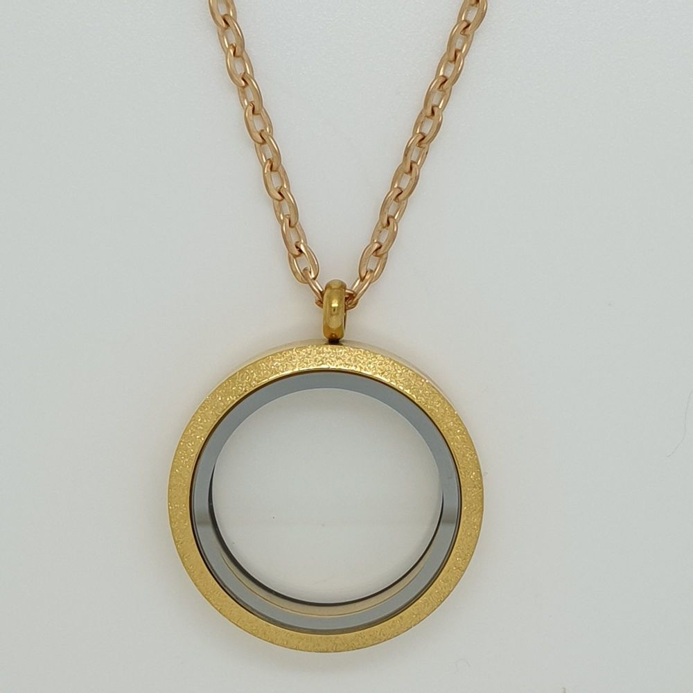 30mm Gold Tone Shimmer Effect Stainless Steel Floating Locket