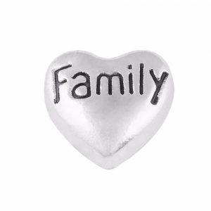 Family Heart Floating Locket Charm