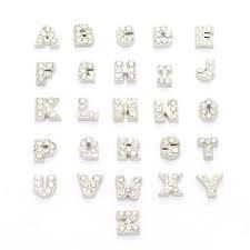 Crystal Floating Locket Letter Charms