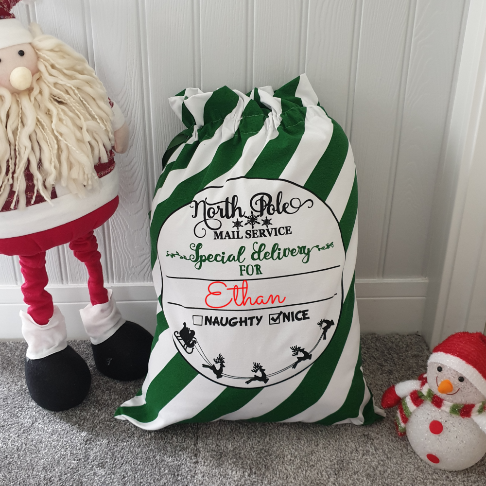 Personalised Christmas Sack Green