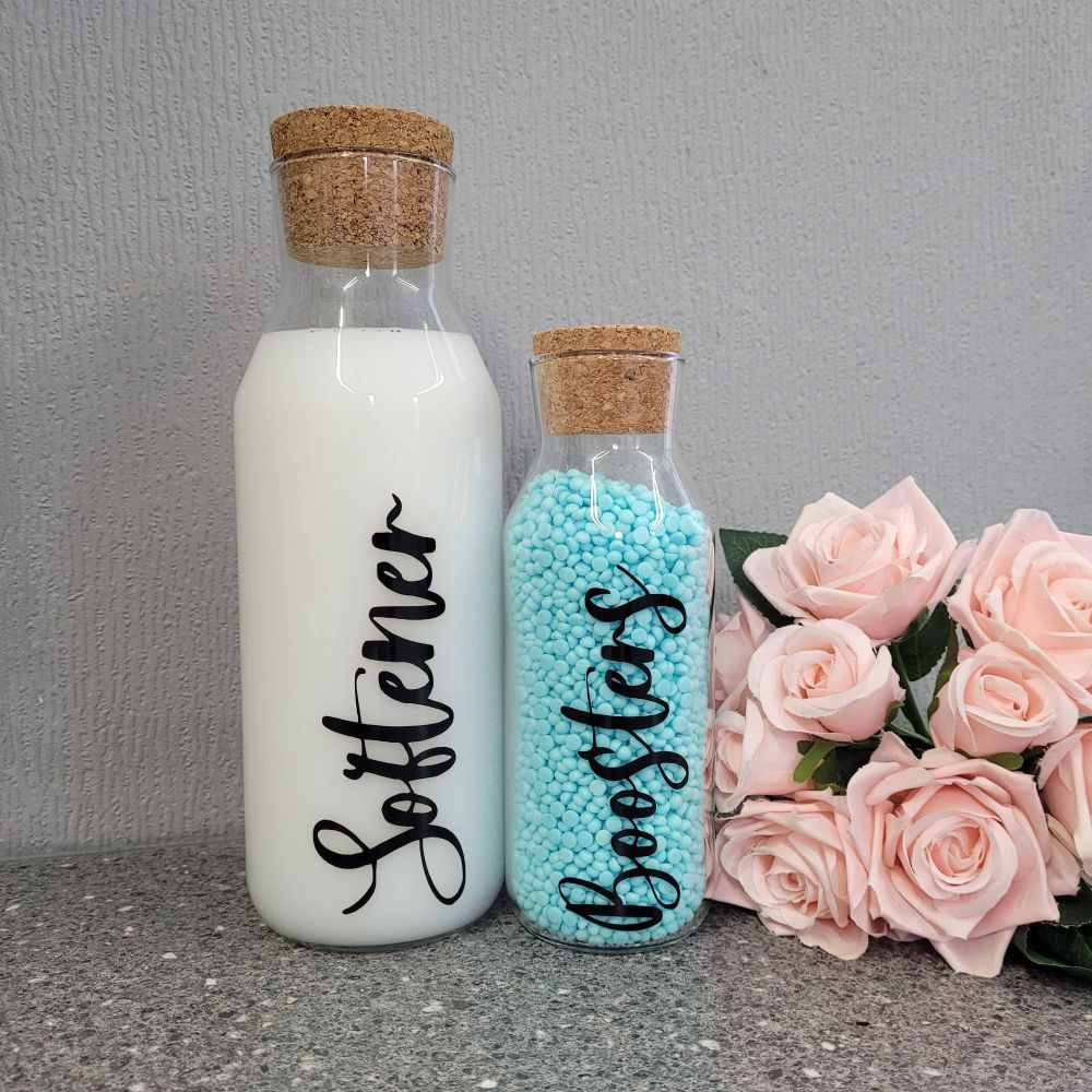1L Glass Laundry Storage Bottles With Cork Lid