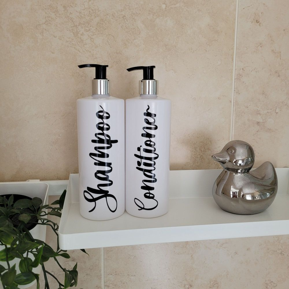 White Bathroom pump bottles