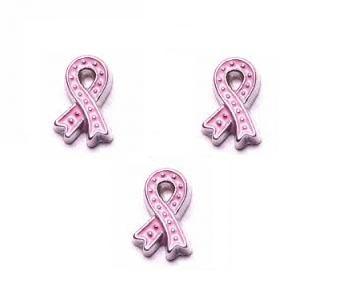 Pink Ribbon Floating Locket Charm