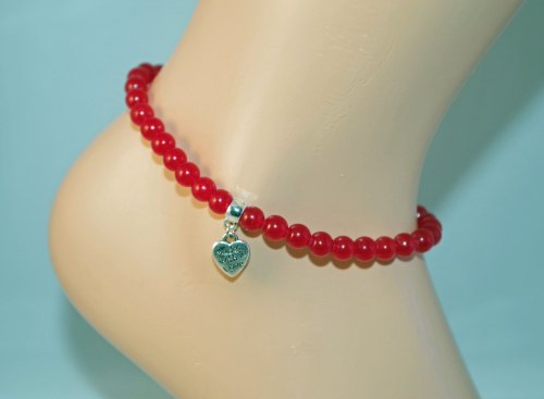 Ruby Red Chalcedony Anklet