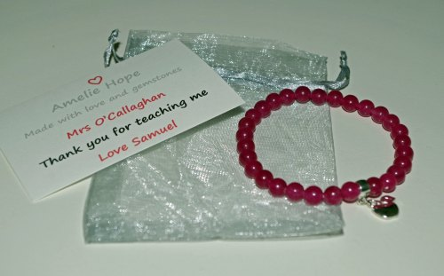 Pink Chalcedony Teacher Thank you Bracelet