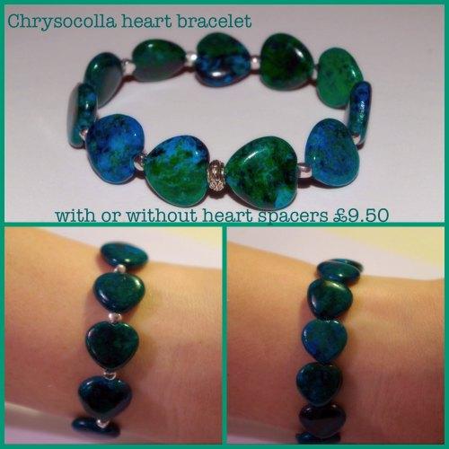 Chrysocolla Heart Bracelet