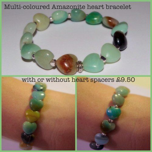 Multi-coloured Amazonite Heart Bracelet