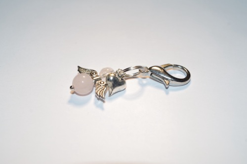 SCORPIO ROSE QUARTZ CRYSTAL HEALING ANGEL CHARM (October 23 - November 21)