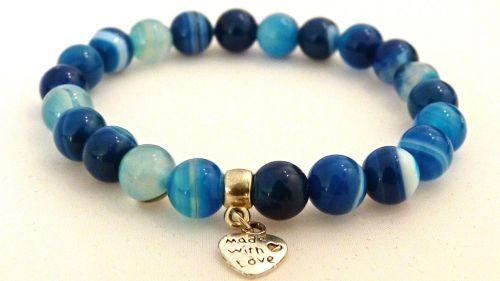 AMELIE HOPE CRYSTAL HEALING BLUE BANDED AGATE BRACELET