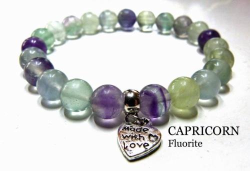 CAPRICORN FLUORITE CRYSTAL HEALING BRACELET