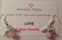 ROSE QUARTZ AMELIE HOPE CRYSTAL HEALING ANGEL GEMSTONE EARRINGS