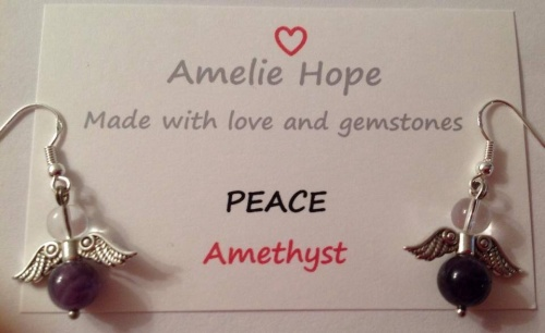 AMETHYST AMELIE HOPE CRYSTAL HEALING ANGEL GEMSTONE EARRINGS