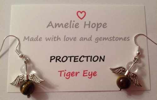 TIGER EYE AMELIE HOPE CRYSTAL HEALING ANGEL GEMSTONE EARRINGS