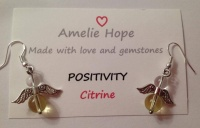 CITRINE AMELIE HOPE CRYSTAL HEALING ANGEL GEMSTONE EARRINGS
