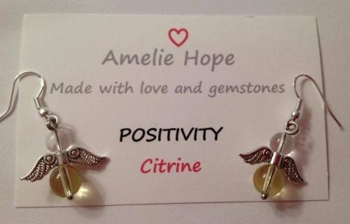 CITRINE AMELIE HOPE CRYSTAL HEALING ANGEL GEMSTONE EARRINGS