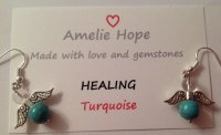TURQUOISE AMELIE HOPE CRYSTAL HEALING ANGEL GEMSTONE EARRINGS