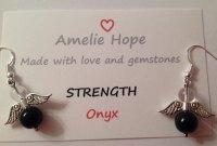 ONYX AMELIE HOPE CRYSTAL HEALING ANGEL GEMSTONE EARRINGS