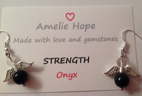 ONYX AMELIE HOPE CRYSTAL HEALING ANGEL GEMSTONE EARRINGS
