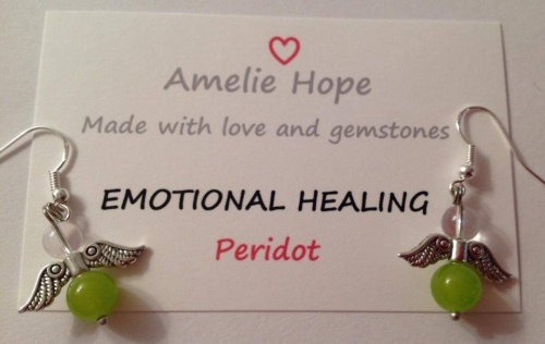 PERIDOT AMELIE HOPE CRYSTAL HEALING ANGEL GEMSTONE EARRINGS