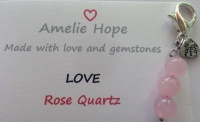 3 Bead Charm Rose Quartz