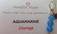 3 Bead Charm Aquamarine